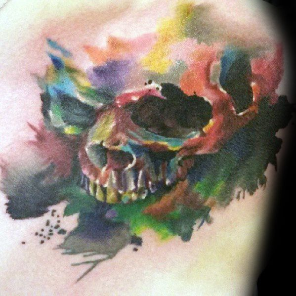Distinctive Male Watercolor Skull Tattoo Designs On Arm
