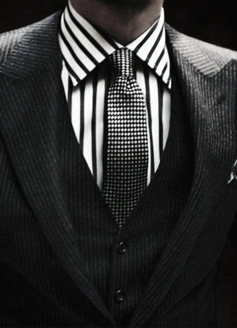 Distinctive Mens Black Suit Styles With Striped Black And White Dress Shirt And Dot Tie