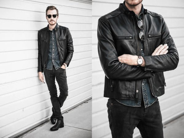 Distinctive Mens Leather Jacket How To Wear A Leather Jacket Outfits Styles Black Pants Denim Shirt