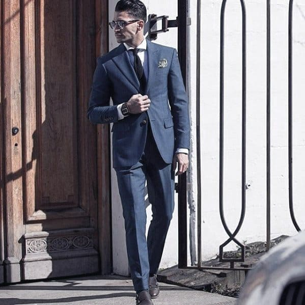 Distinctive Mens Navy Blue Suit Brown Shoes Styles