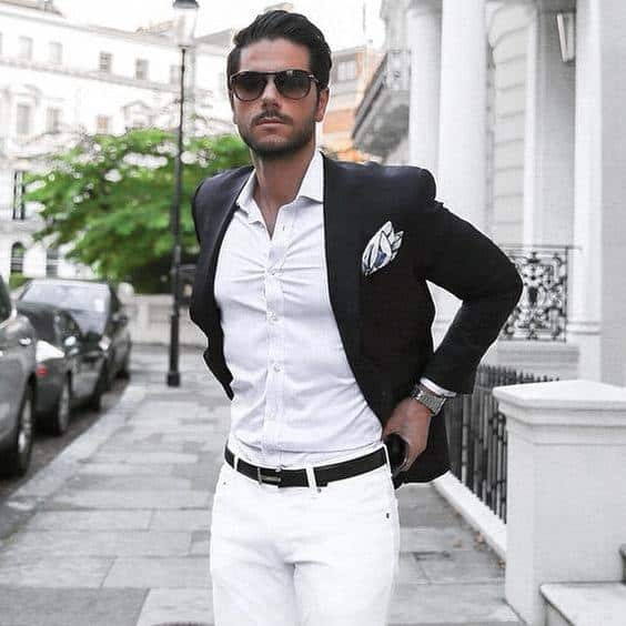 Distinctive Mens Trendy Outfits Styles White Dress Shirt And Pants With Navy Blazer