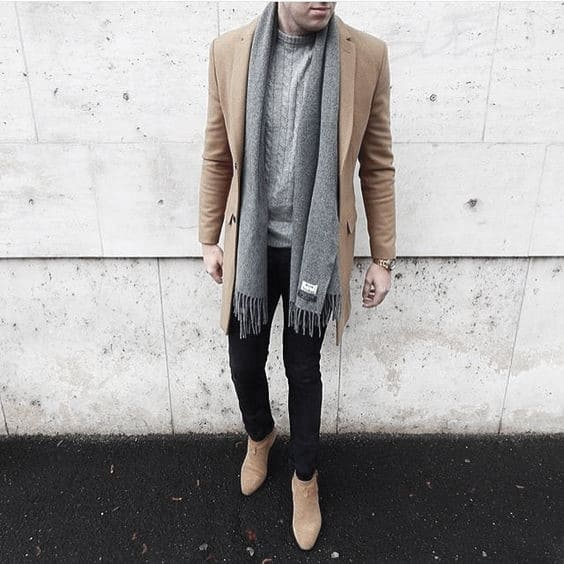 Distinctive Mens Winter Outfits Styles Tan Coat With Grey Scarf