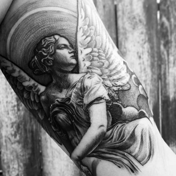 Distinctive Quarter Sleeve Male Angel Statue Tattoo Designs