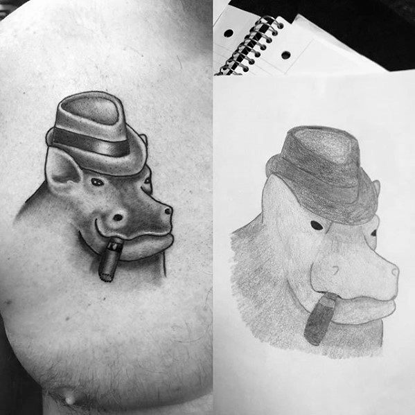 Distinctive Upper Chest Male Hippo Tattoo Designs