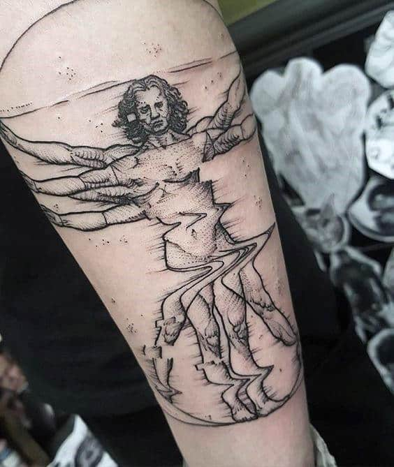 Distorted Vitruvian Man Mens Inner Forearm Tattoo