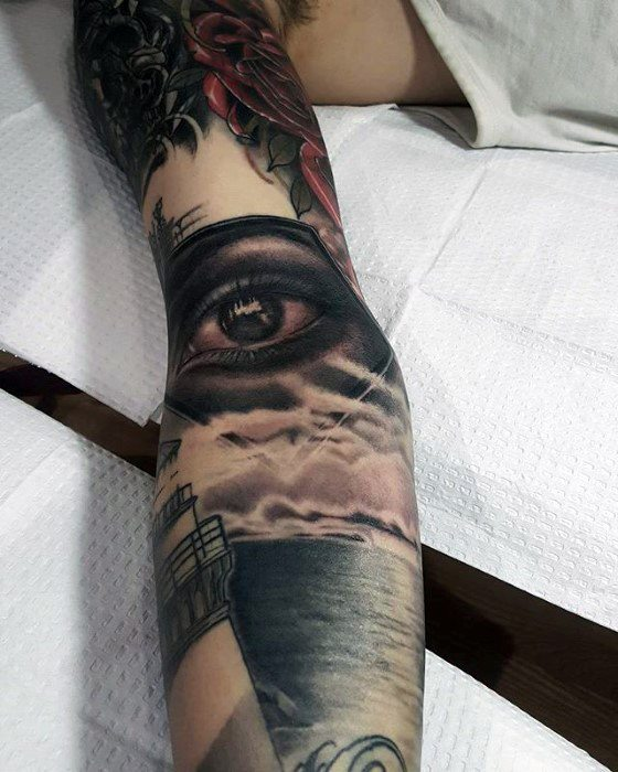 Ditch Elbow Crease 3d Realistic Eye Tattoo On Men