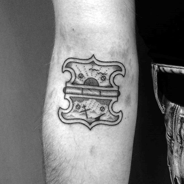 Ditch Elbow Crease Hinge With Sinking Ship And Rising Sun Tattoo Ideas For Gentlemen