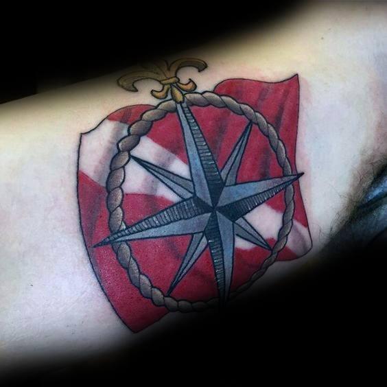 Dive Flag Tattoo Inspiration For Men