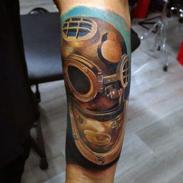 Diver Helmet Artistic Mens Forearm Sleeve Tattoos