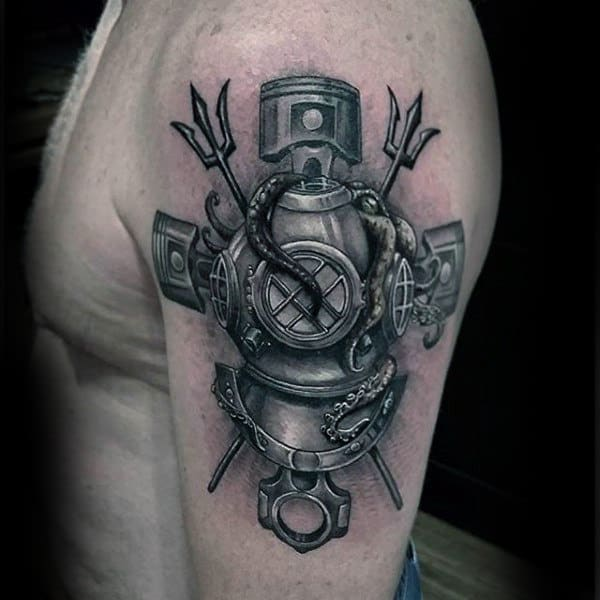Diver Insane Mens Arm Tattoos