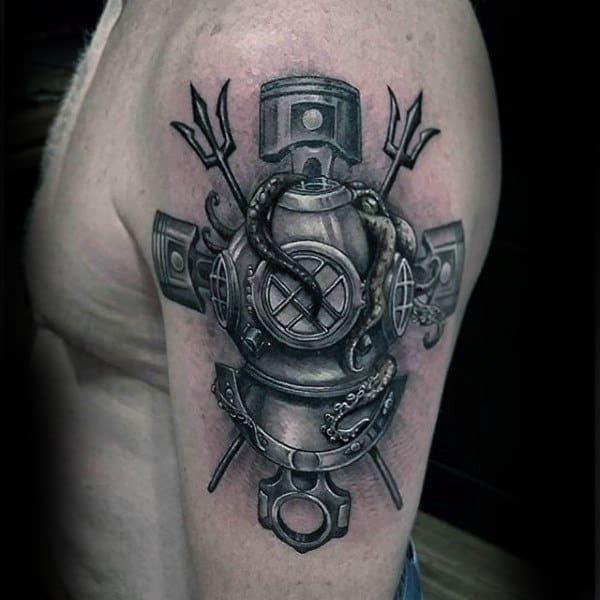 Diver Insane Mens Arm Tattoos
