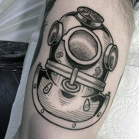 Diver Mask Dotwork Nautical Mens Bicep Tattoos