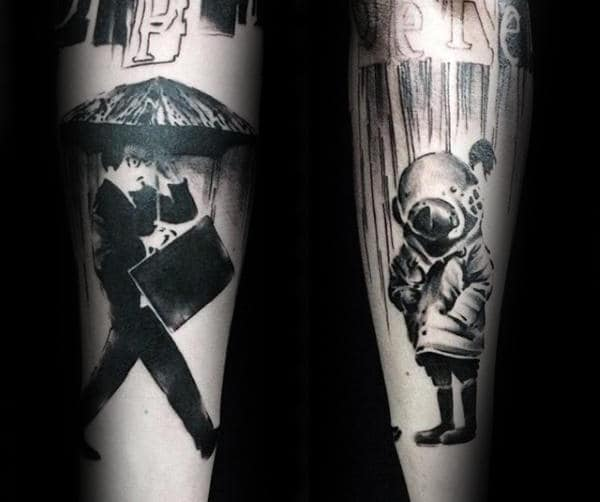 Diver Mask With Businessman Mens Banksy Forearm Tattoos