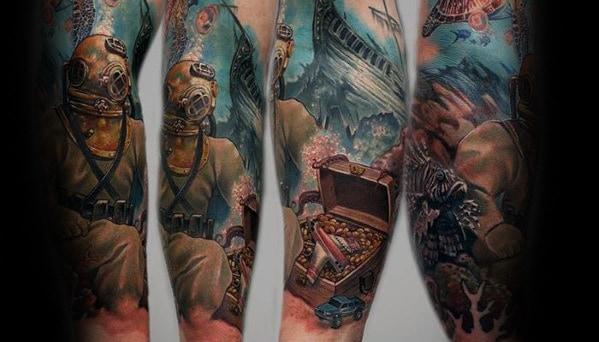 Diver Underwater Treasure Chest Mens Arm Sleeve Tattoo
