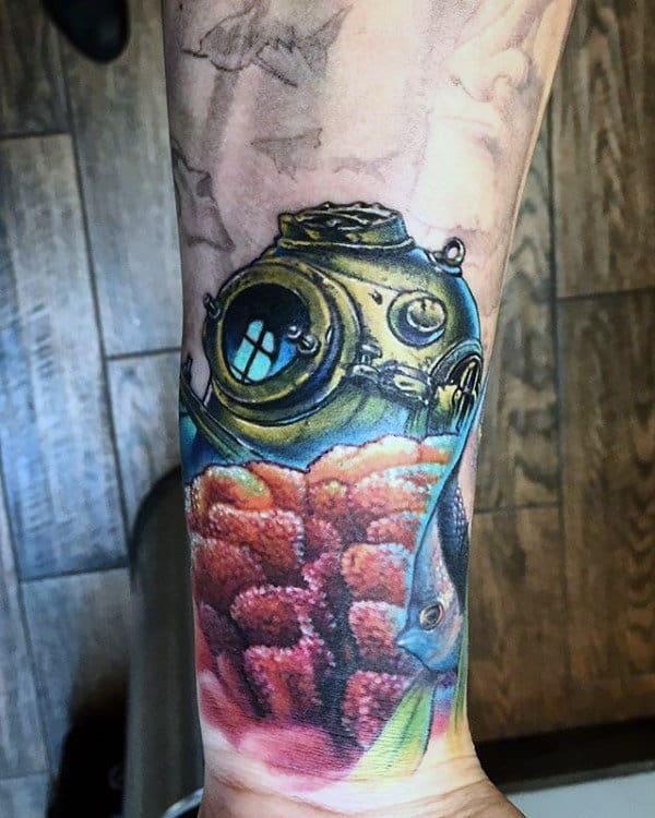 Divers Helmet Coral Reef Mens Wrist Tattoos