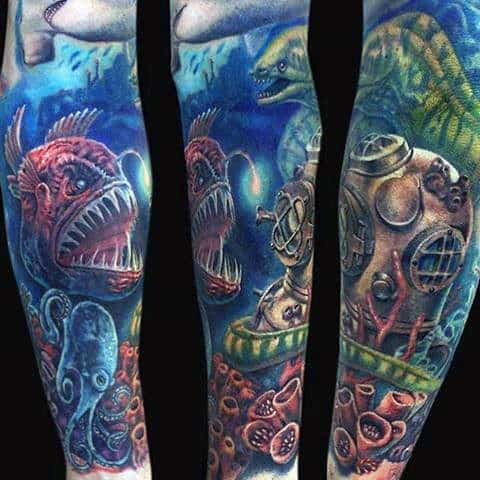 Divers Helmet With Deep Sea Fish Mens Ocean Themed Sleeve Tattoo