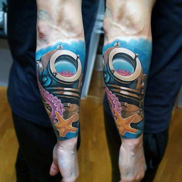 Divers Helmet With Starfish Badass Mens Underwater Forearm Tattoos