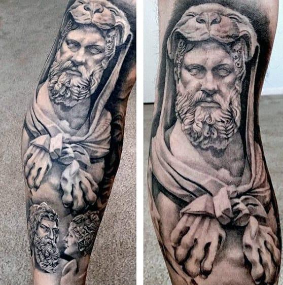 Divine Hero Hercules Mens Leg Sleeve Tattoo