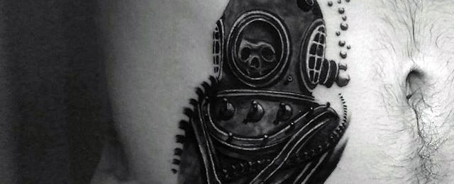 60 Diving Helmet Tattoo Designs For Men – Deep Sea Ideas