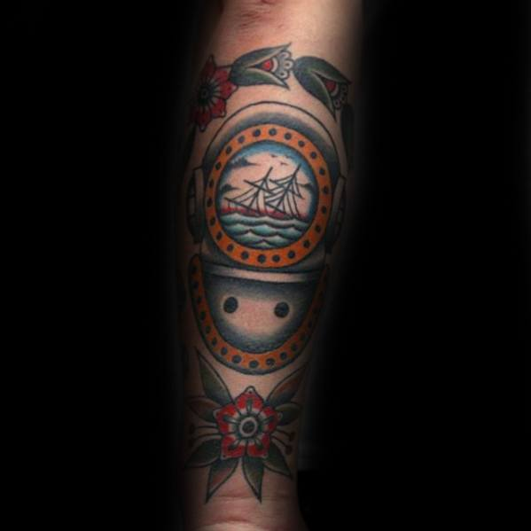 Diving Helmet With Sinking Ship Design Tattoo Ideas For Males On Forearm