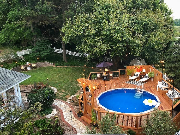 The Top 47 Best Above Ground Pool Deck Ideas Backyard Landscape Design