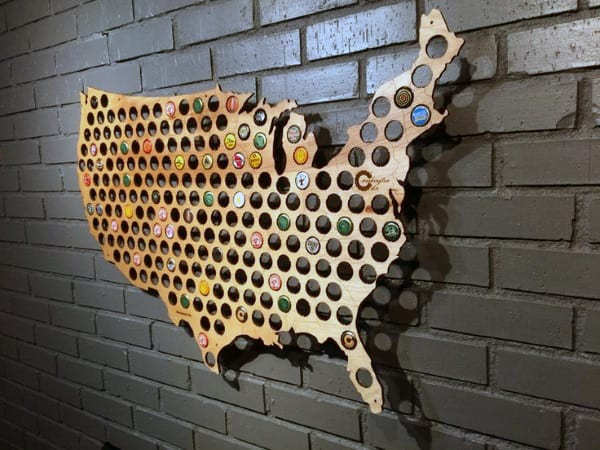 Diy Man Cave Decor Usa Map With Bottle Caps In Wood