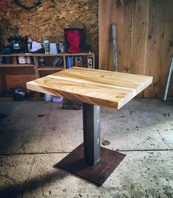 Diy Man Cave Ideas Steel Frame And Wood Top Side Table