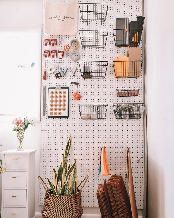 Diy Neutral Home Office Pegboard Ideas Seniside
