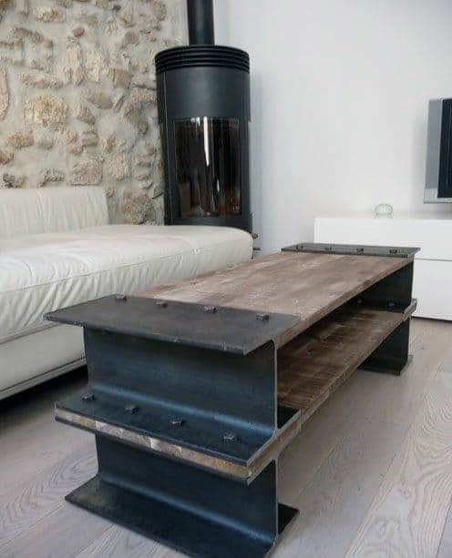 Genial Diy Steel Beam With Wood Man Cave Furniture Table