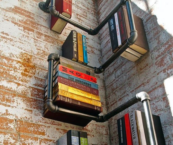 Diy Steel Wall Book Case Shelf Man Cave Decor