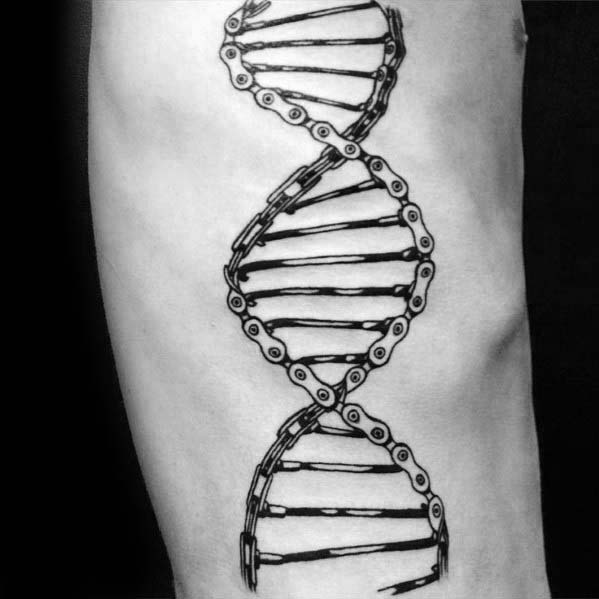 Dna Helix Strand Bmx Bike Chain Mens Rib Cage Side Tattoos