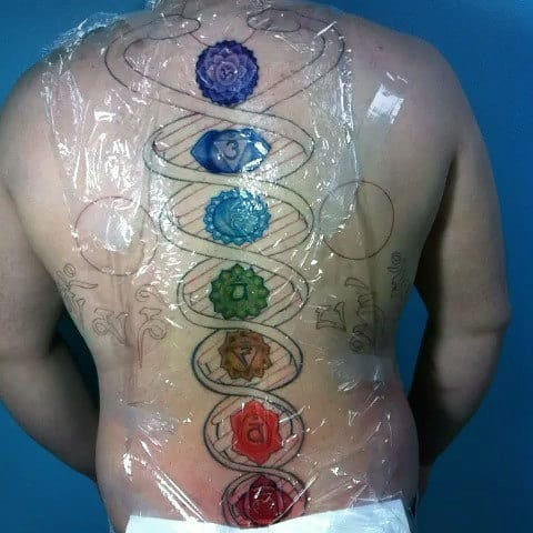 Dna Helix Strand Chakras Mens Spine Tattoos