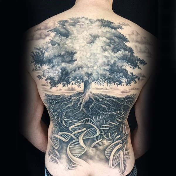 Dna Helix Strand Tree Of Life Male Back Tattoos