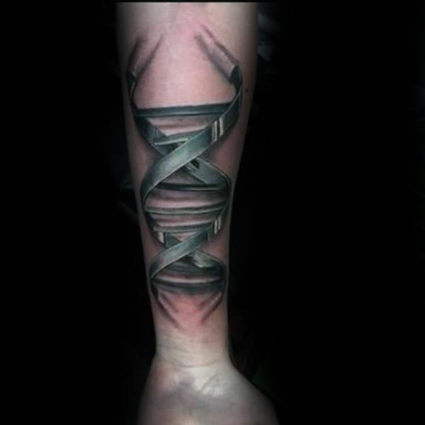 Dna Helix Strand With Chrome Design Unique Forearm Guys Tattoo Ideas