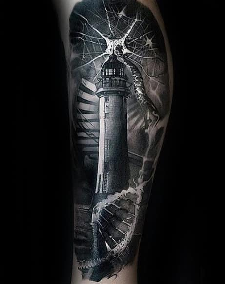 Dna Helix Strand With Lighthouse Mens Realistic 3d Leg Tattoo