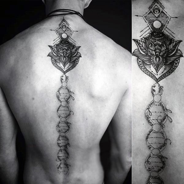 Dna Strand Male Spine Tattoo In Middle Of Back