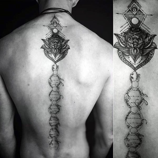 Dna Strand Spine Tattoos For Men With Flower Design At Top Of Back