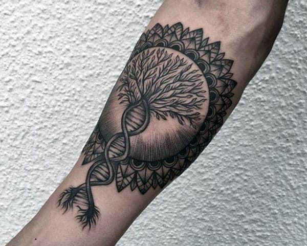 Dna Tree Of Life Mens Inner Forearm Tattoos