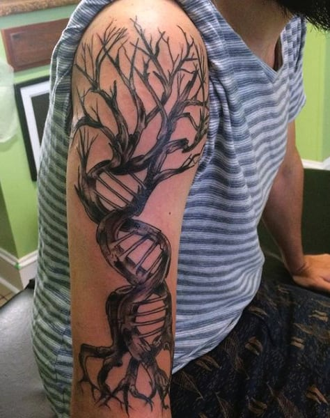 Dna Tree Tattoo For Men Half Sleeve