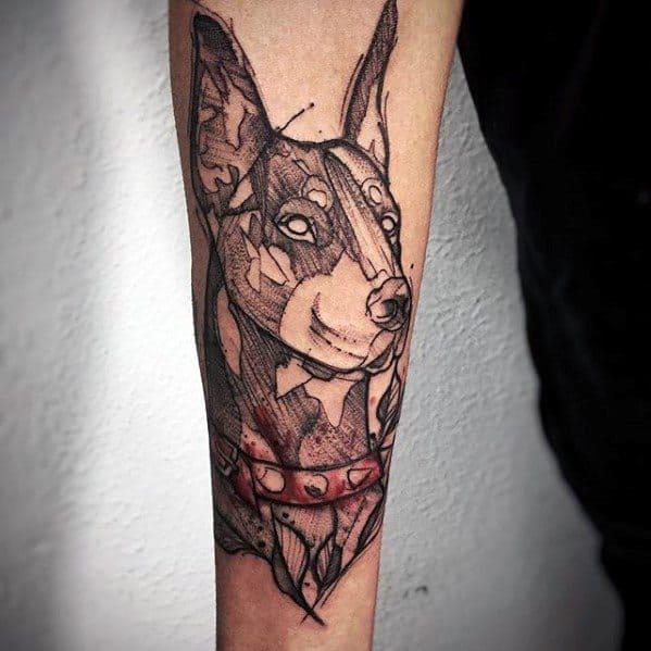 Doberman Dog Tattoos For Gentlemen On Inner Forearm