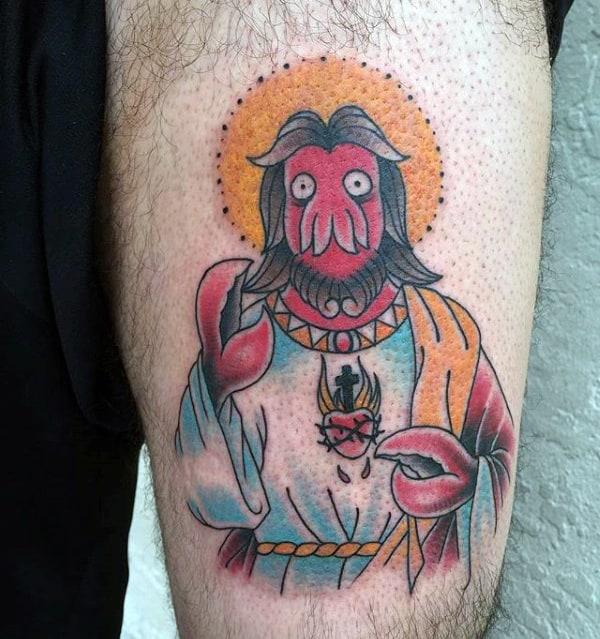 Doctor Zoidberg Futurama Mens Thigh Tattoo