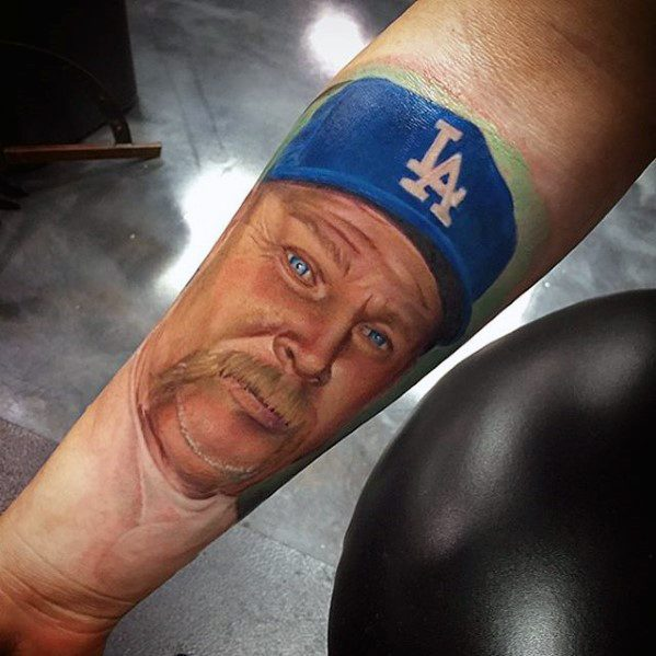 Dodgers Baseball Player Realistic Forearm Tattoos For Gentlemen
