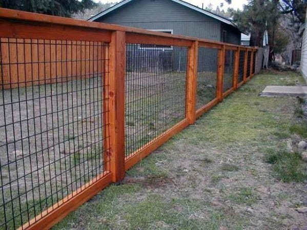 Dog Fence Ideas Wood With Metal Mesh Wire