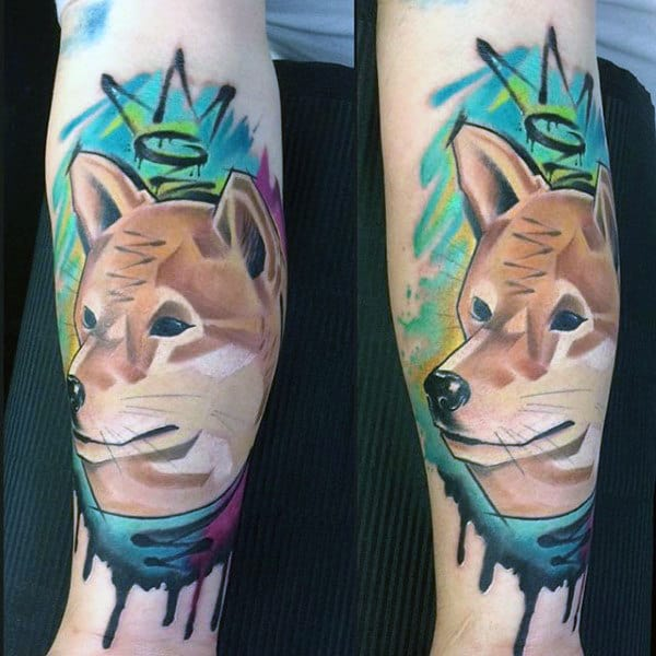 Dog Graffiti Tattoo On Mans Forearm
