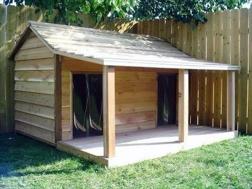 Dog House Designs For Two Dogs With Concrete Porch