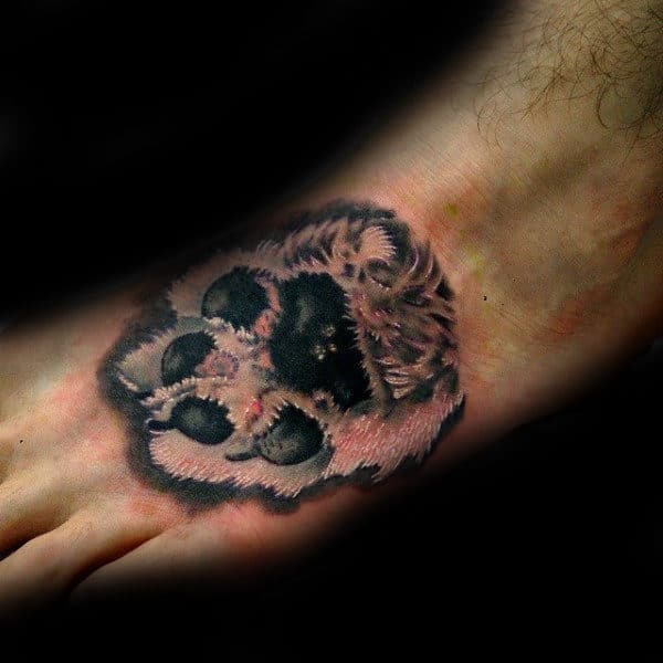 Dog Paw Mens Foot Tattoo With Realistic Design