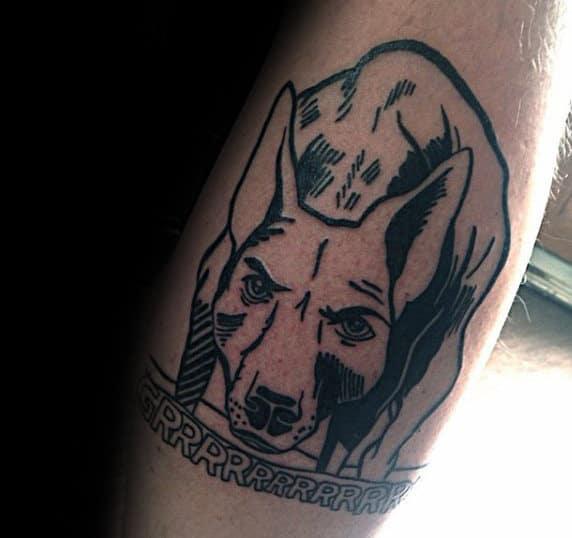 Dog Pop Art Mens Leg Tattoo