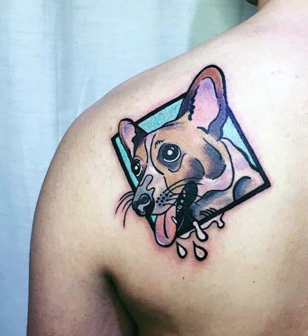 Dog Pop Art Mens Shoulder Tattoo