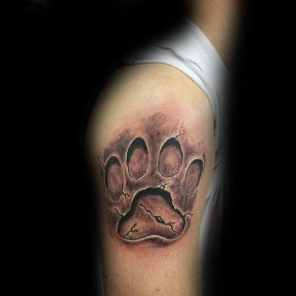 Dog Print Stone 3d Mens Upper Arm Tattoos