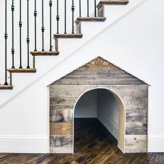 Dog Room Built In Under Staircase With Rustic Barn Wood Design